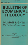 Bulletin of Ecumenical Theology -- Human Rights: The African Perspective Volume 4 Numbers 1-2
